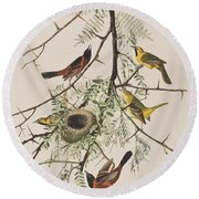 Orchard Oriole Round Beach Towel by John James Audubon