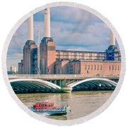 Pink Floyd's Pig At Battersea Round Beach Towel by Dawn OConnor