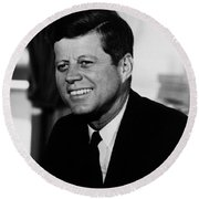 President Kennedy Round Beach Towel by War Is Hell Store