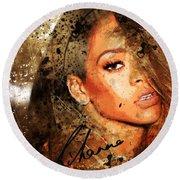 Robyn Rihanna Fenty - Rihanna Round Beach Towel by Sir Josef - Social Critic - ART