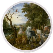 The Entry Of The Animals Into Noah's Ark Round Beach Towel by Jan Brueghel the Elder