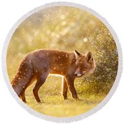 The Fox And The Fairy Dust Round Beach Towel by Roeselien Raimond