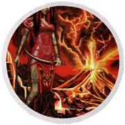 The Goodess Pele Of Hawaii Round Beach Towel by James Christopher Hill