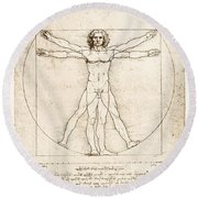 The Proportions Of The Human Figure Round Beach Towel by Leonardo Da Vinci
