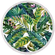Tropical  Round Beach Towel by Mark Ashkenazi