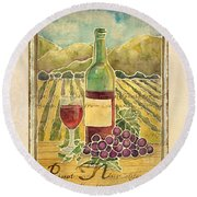Vineyard Pinot Noir Grapes N Wine - Batik Style Round Beach Towel by Audrey Jeanne Roberts
