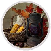 Autumn Round Beach Towel by Nailia Schwarz