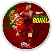 Cristiano Ronaldo Round Beach Towel by Semih Yurdabak