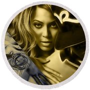 Jay Z Beyonce Collection Round Beach Towel by Marvin Blaine