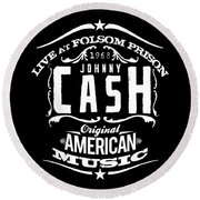 Johnny Cash Round Beach Towel by Hans Wolfgang Muller Leg