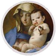 Madonna Of The Goldfinch Round Beach Towel by Giovanni Battista Tiepolo