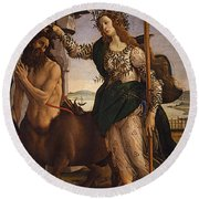 Pallas And The Centaur Round Beach Towel by Sandro Botticelli