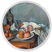 Still Life With Onions  Round Beach Towel by Paul Cezanne
