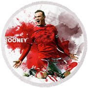 Wayne Rooney Round Beach Towel by Semih Yurdabak