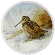 Winter Woodcock Round Beach Towel by Archibald Thorburn