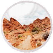 Valley Of Fire State Park Panorama Round Beach Towel by Daniel Shumny