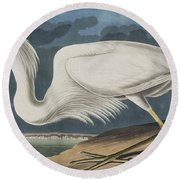 Great White Heron Round Beach Towel by John James Audubon