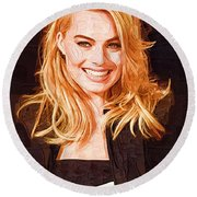 Margot Robbie Painting Round Beach Towel by Best Actors