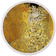 Portrait Of Adele Bloch-bauer I Round Beach Towel by Gustav Klimt