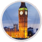 View Of Big Ben And Houses Round Beach Towel by Panoramic Images