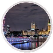 Westminster - London Round Beach Towel by Joana Kruse