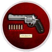 .44 Magnum Colt Anaconda On Red Velvet  Round Beach Towel by Serge Averbukh