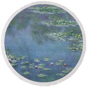 Water Lilies Round Beach Towel by Claude Monet