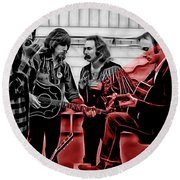 Crosby Stills Nash And Young Round Beach Towel by Marvin Blaine
