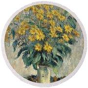 Jerusalem Artichoke Flowers Round Beach Towel by Claude Monet