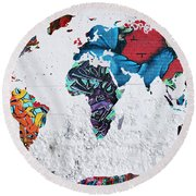 Map Of The World Round Beach Towel by Mark Ashkenazi