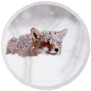 50 Shades Of White And A Touch Of Red Round Beach Towel by Roeselien Raimond
