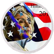 Hillary Clinton 2016 Collection Round Beach Towel by Marvin Blaine