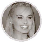 Hollywood Star Margot Robbie Round Beach Towel by Best Actors