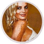 Margot Robbie Art Round Beach Towel by Best Actors