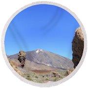 Tenerife - Mount Teide Round Beach Towel by Joana Kruse