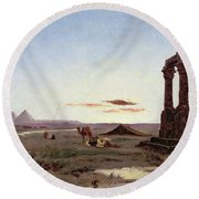 A Bedouin Encampment By A Ruined Temple  Round Beach Towel by Alexandre Gabriel Decamps
