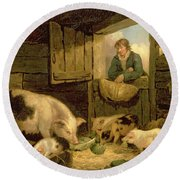 A Boy Looking Into A Pig Sty Round Beach Towel by George Morland