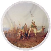 A Caravan On The Way To Cairo Round Beach Towel by Felix Ziem