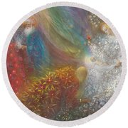 A Child Is Born Round Beach Towel by Annael Anelia Pavlova