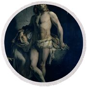 A Gaul And His Daughter Imprisoned In Rome Round Beach Towel by Felix-Joseph Barrias