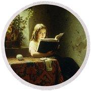 A Girl Reading Round Beach Towel by Johann Georg Meyer