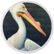 A Great White American Pelican Round Beach Towel by James W Johnson