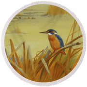 A Kingfisher Amongst Reeds In Winter Round Beach Towel by Archibald Thorburn