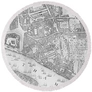 A Map Of The Tower Of London Round Beach Towel by John Rocque