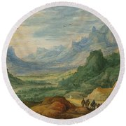 A Mountainous Landscape With Travellers And Herdsmen On A Path Round Beach Towel by Jan Brueghel and Joos de Momper