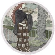 A Musician Round Beach Towel by Eugene Grasset