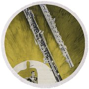A Musician Playing A Charles Gerard Conn Flute Round Beach Towel by American School