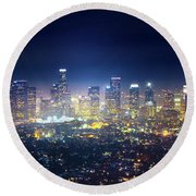 A Night In Los Angeles Round Beach Towel by Mark Andrew Thomas
