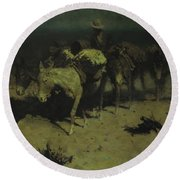 A Pack Train Round Beach Towel by Frederic Remington