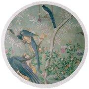 A Pair Of Magpie Jays  Vintage Wallpaper Round Beach Towel by John James Audubon